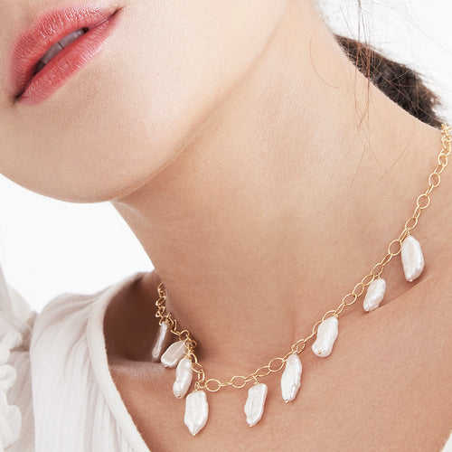 22kt Gold Edwin Chain & Pearl Necklace ,[product vendor],JewelStreet