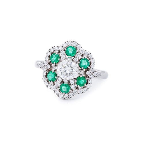White Gold, Diamond & Emerald Lace Ring | Katherine LeGrand