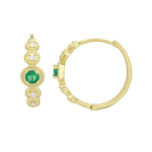 18kt Yellow Gold Emerald & Diamond Hoop Earrings ,[product vendor],JewelStreet