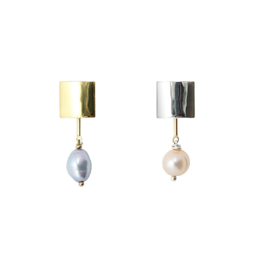 Silver & Gold Erin Mismatched Pearl Earrings ,[product vendor],JewelStreet