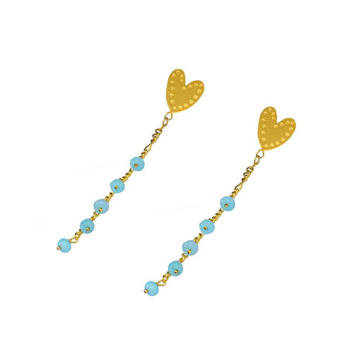 24kt Gold Plated Sterling Silver Ethnic Heart Amazonite Earrings