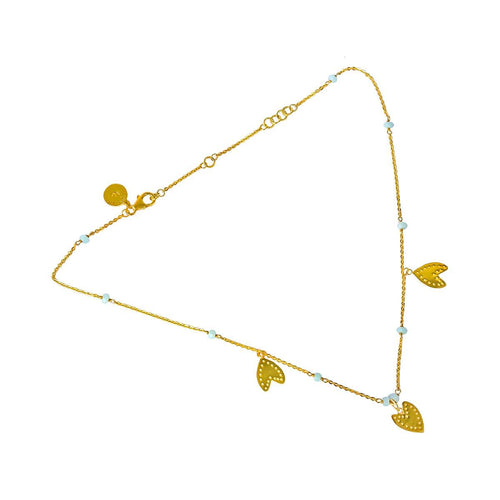 24kt Gold Plated Sterling Silver Ethnic Hearts Amazonite Necklace