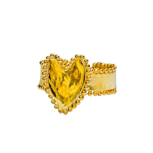 24kt Gold Plated Sterling Silver Ethnic Heart Ring