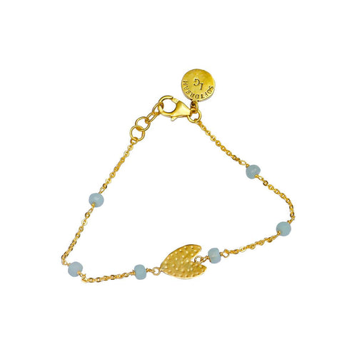 24kt Gold Plated Sterling Silver Ethnic Heart Amazonite Bracelet