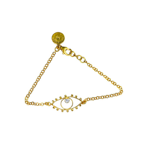 24kt Gold Plated Sterling Silver Eye Bracelet