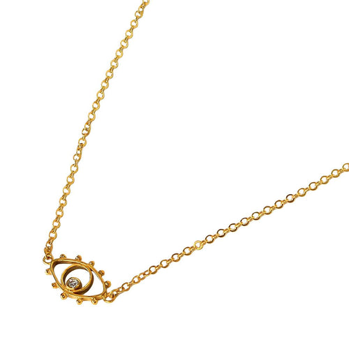 24kt Gold Plated Sterling Silver Eye Necklace
