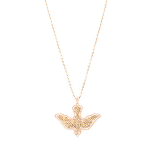 18kt Yellow Gold Dove Of Love Necklace