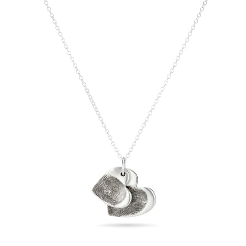 Sterling Silver Double Fingerprint Heart Necklace ,[product vendor],JewelStreet