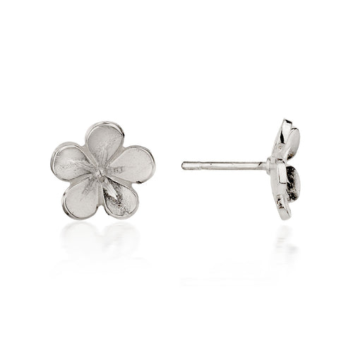 Small Silver Cherry Blossom Stud Earrings ,[product vendor],JewelStreet