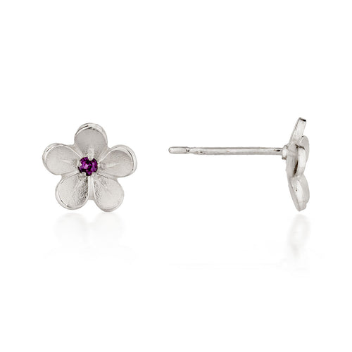 Small Silver Cherry Blossom Stud Earrings with Garnets ,[product vendor],JewelStreet
