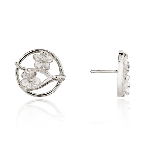 Silver Cherry Blossom Stud Earrings ,[product vendor],JewelStreet