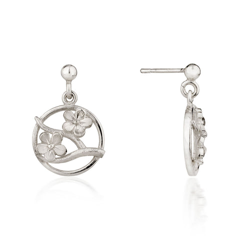 Silver Cherry Blossom Drop Earrings ,[product vendor],JewelStreet