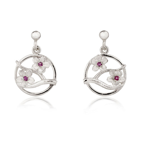 Silver Cherry Blossom Drop Earrings with Garnets ,[product vendor],JewelStreet