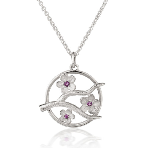 Silver Cherry Blossom Pendant with Garnets ,[product vendor],JewelStreet