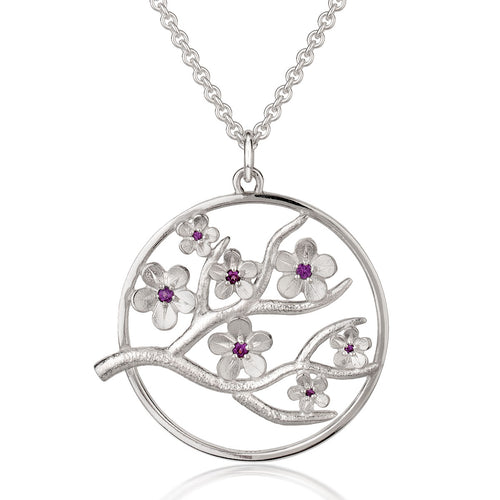Large Silver Cherry Blossom Pendant with Garnets ,[product vendor],JewelStreet