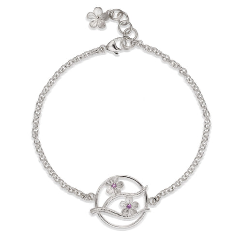Silver Cherry Blossom Bracelet with Garnets ,[product vendor],JewelStreet