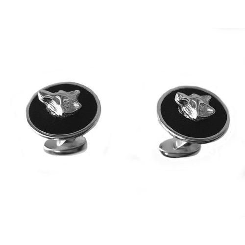 925 Silver Cufflinks With Leather Inlay