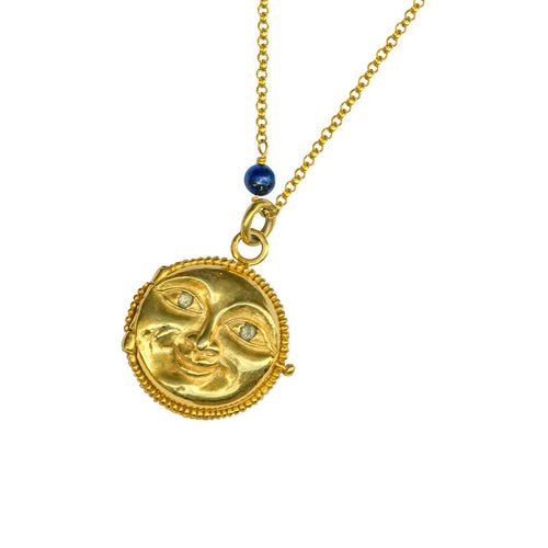 24kt Gold Plated Sterling Silver Full Moon Lapis Locker Necklace