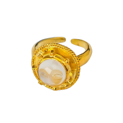 24kt Gold Plated Sterling Silver Full Moon Ring