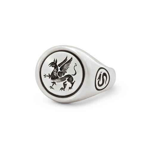 Sterling Silver Griffin Signet Ring ,[product vendor],JewelStreet