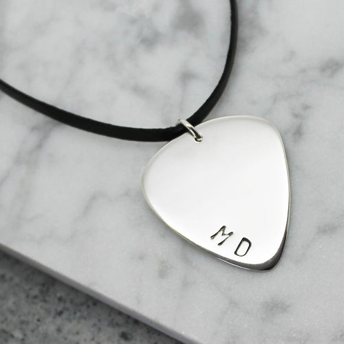 Personalised Guitar Pick Sterling Silver Pendant
