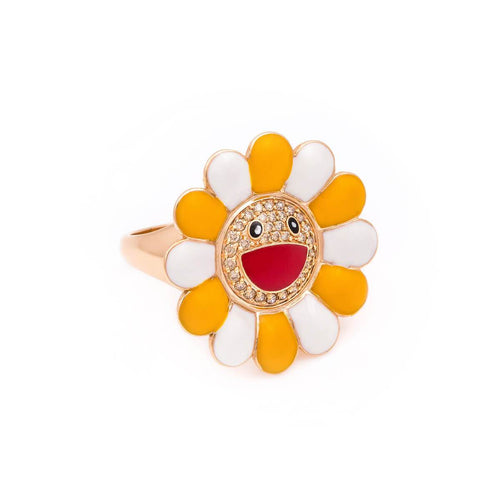 18kt Yellow Gold & Enamel Happy Daisy Ring