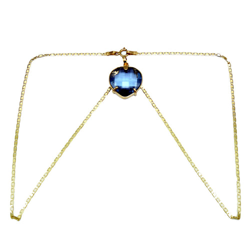 18kt Yellow Gold Heart Sapphire Necklace ,[product vendor],JewelStreet