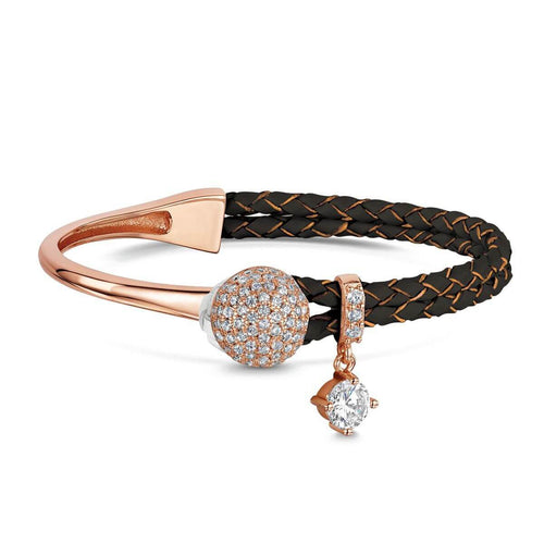 Rose Gold Plated Dianna Brown Leather Bracelet