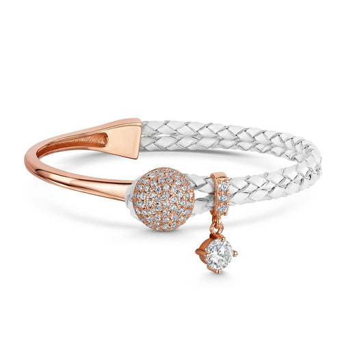 Rose Gold Plated Dianna White Leather Bracelet