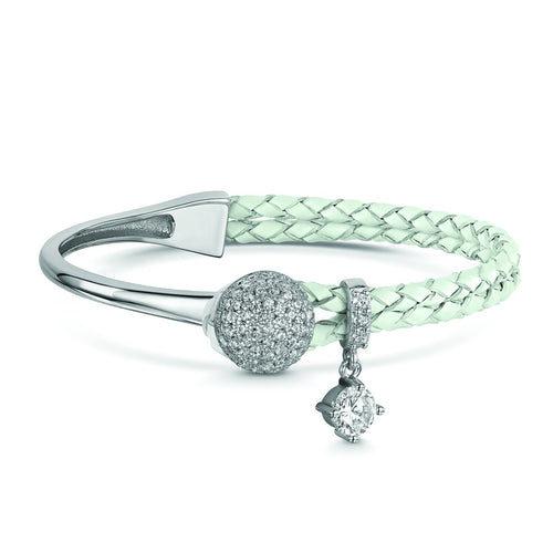 Rhodium Plated Dianna White Leather Bracelet