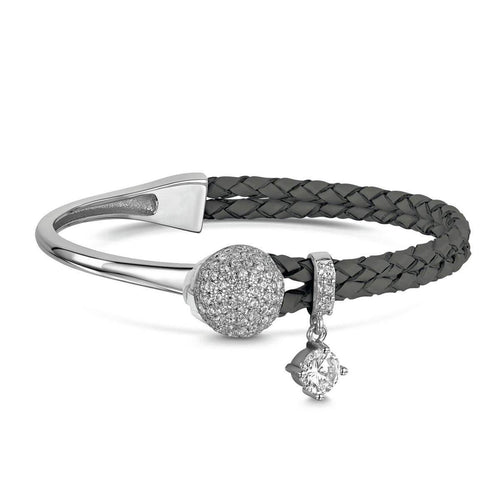 Rhodium Plated Dianna Grey Leather Bracelet