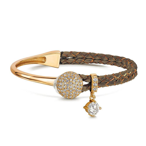 Yellow Gold Plated Dianna Brown Leather Bracelet