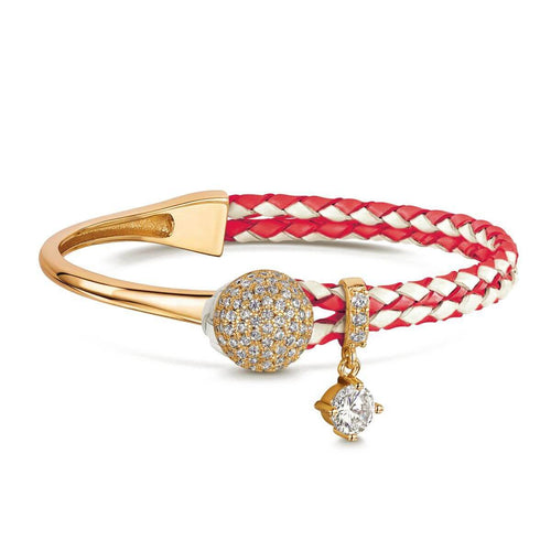 Yellow Gold Plated Dianna Red & White Leather Bracelet