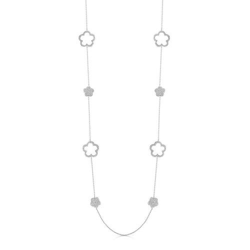 Rhodium Plated Zara Long Necklace