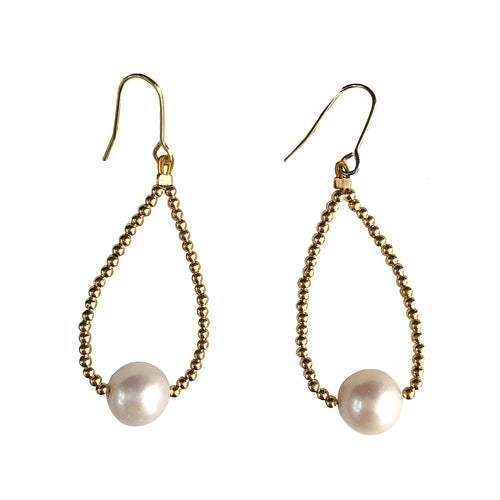 White Freshwater Pearl Drop Earrings ,[product vendor],JewelStreet