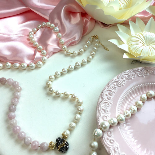 Pearl & Rose Quartz Multi-Way Necklace ,[product vendor],JewelStreet