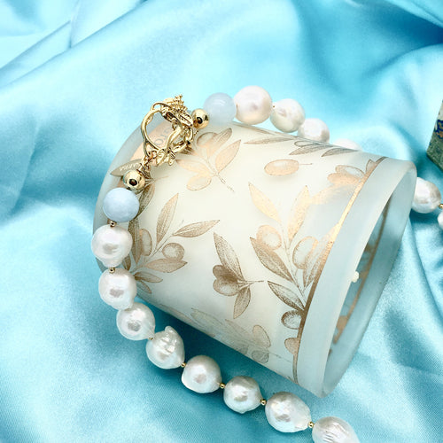 Freshwater Pearl With Aquamarine Choker ,[product vendor],JewelStreet