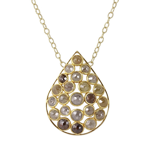 18kt Yellow Gold Natural Colour Rose-Cut Diamond Drop Shape Necklace ,[product vendor],JewelStreet