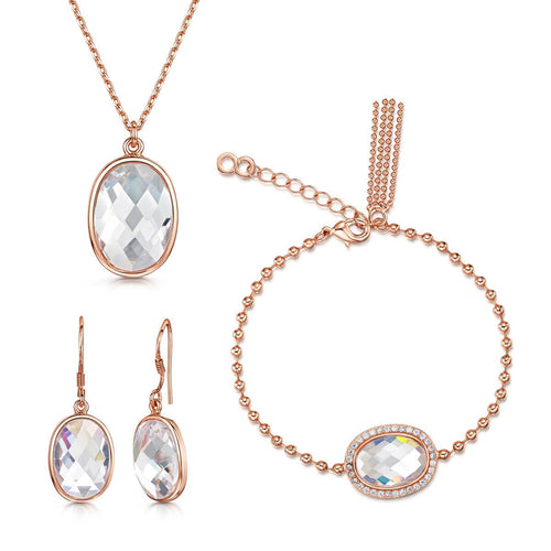 Rose Gold Plated Kathryn Pendant Bracelet & Earring Set