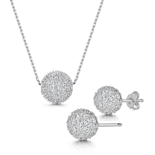 Rhodium Plated Dianna Pendant & Earring Set