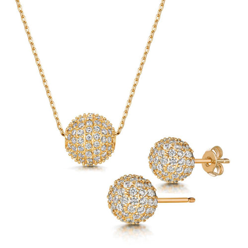 Yellow Gold Plated Dianna Pendant & Earring Set