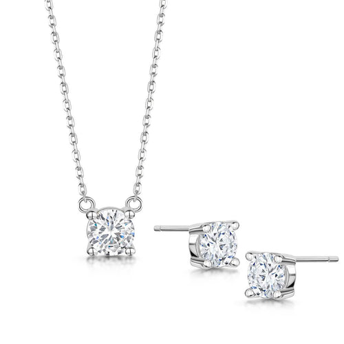 Rhodium Plated Anya Pendant & Earring Set I