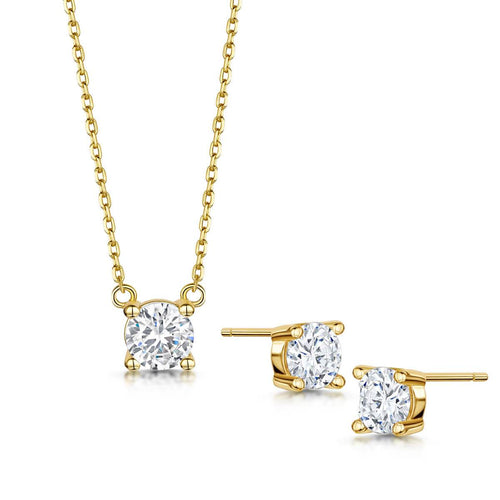 Yellow Gold Plated Anya Pendant & Earring Set I