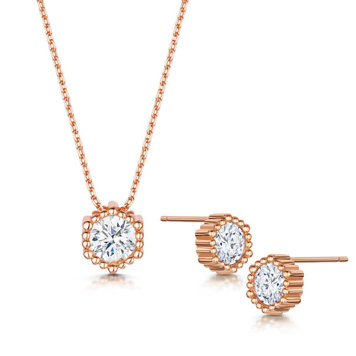 Rose Gold Plated Anya Pendant & Earring Set II