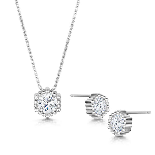 Rhodium Plated Anya Pendant & Earring Set II