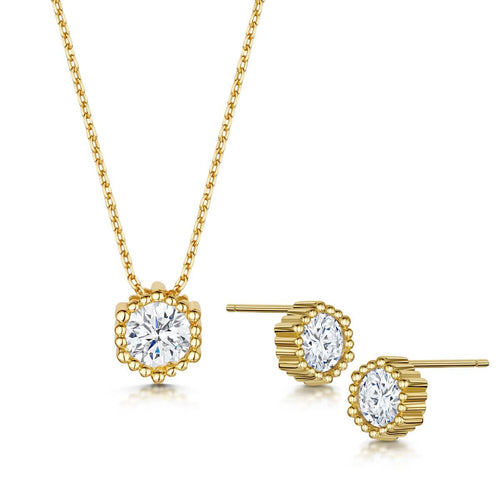 Yellow Gold Plated Anya Pendant & Earring Set II