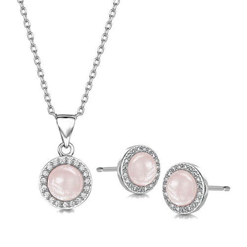 Rhodium Plated Rosanna Pendant & Earring Set