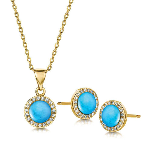 Yellow Gold Plated Rosanna Pendant & Earring Set