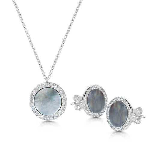 Rhodium Plated Darcy Pendant & Earring Set