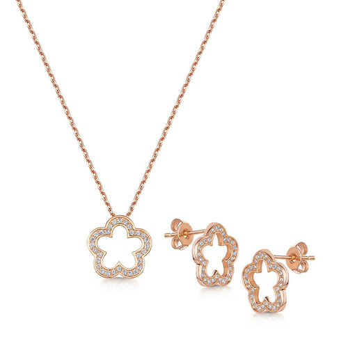 Rose Gold Plated Zara Pendant & Earring Set